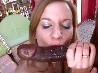 Randy pornstar with large tits gets slammed by black cock outdoor