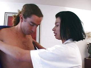 French nurse doing some work with her face hole