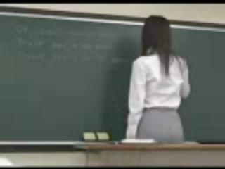 Japanese teacher receives nailed from behind by one of her students