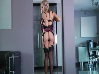 Blond shows her ass and that's right where this chab puts his wang