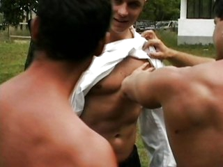 Three hot gays sucking and fucking