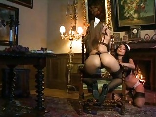 2 extremely hot lesbo maids playing with dildos