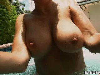 Great Golden-haired MILF Blowjobs In The Pool