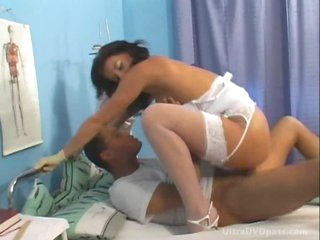 Brunette Nurse With Round Jugs Gets Fucked and Creampied By a Colleague