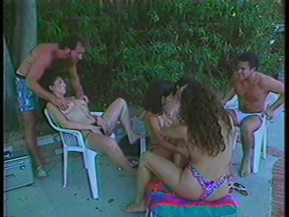 3 Hairy Chicks Fucking and Swallowing Hot Cum By The Poolside