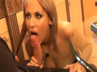 Erotic threesome with a hot blond Euro slut