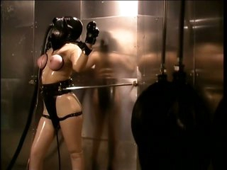 Bound Resigned Lesbian Bitch Paige Richards Wears a Gas Mask