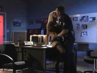 Blonde Jessica Drake Fucks a Policeman And Toys Her Booty With His Baton
