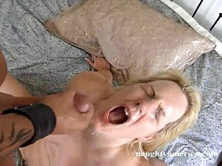 Jordan James opens wide for that load of cum in her wet mouth
