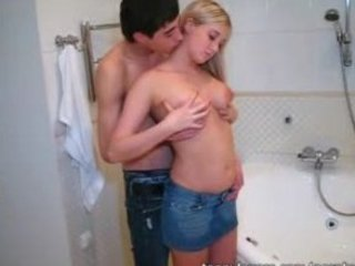 Youthful lovers in the bath