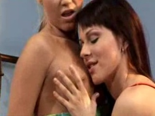 Tight lesbians kissing and teasing