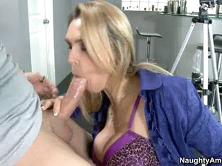 Tanya Tate sucks off a fortunate young man's nob like cum coated sugar-plum