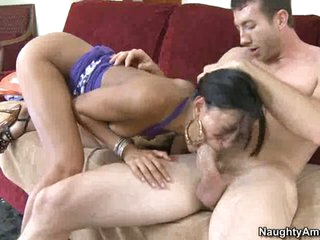 Wang sucking doxy Layla Storm gets sexy and wild munching a favourable man's sausage