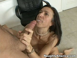 Gina Rome loves the taste of warm sticky jizz sprayed into her hot face hole
