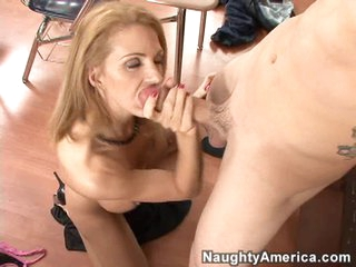 Roxanne Hall sucks long and hard on a giant dick