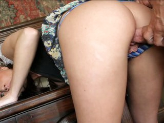 Sexy brunette Kelly Klass keeps her panties on all scene long. She gives blowjob before man stuffs her pussy from behind She enjoys his throbber in her neat pussy.