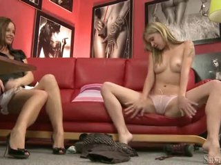 Cute girl does striptease for Silvia Saint