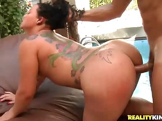 Smoking hot brazilian babe Mary Rodrigue with tattoos and bubble ass gets hardcored by the pool in this steamy video. She enjoys hard dick in her juicy latin pussy and shows off her bubble butt at the same time.