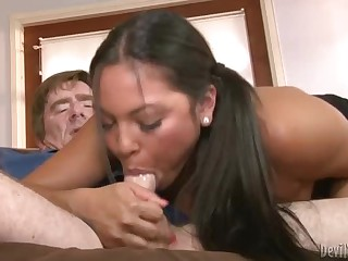 Slutty latina chick Adriana Luna finds her new stepdaddy very attractive. She takes his prick in her mouth and sucks him non stop till she can't wait to take it up her dripping wet pussy.