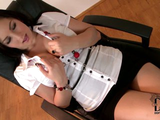 Nanny is a dark haired office babe that has big bibs and long sexy legs. European babe wears white blouse and black mini skirt. She poses for your viewing enjoyment in the office. Watch her tease!
