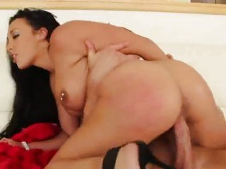 Blazing Rio Lee rides her moist pussy on a thick shaft
