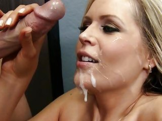 Darcy Tyler gets her face blasted with hot cum