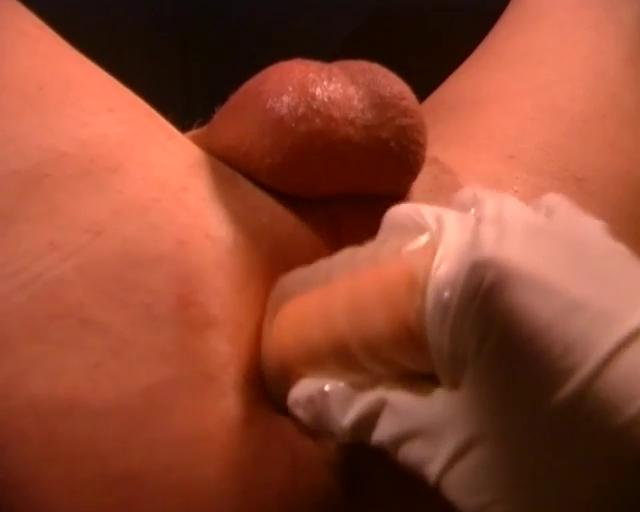 Sexy blonde doctor makes his cock hard