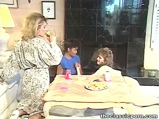 Lesbian party with deep dildo fuck