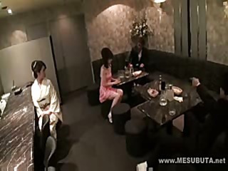 These Japanese babes are getting fucked and played with at dinner