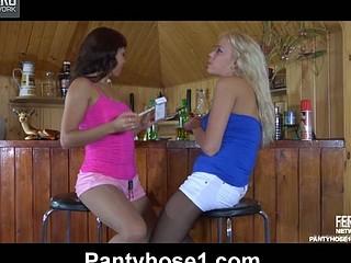 Lieila&Margo lesbo pantyhosing on movie