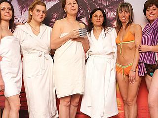 Take a peek at those lovely older ladies at the sauna