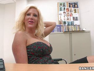 horny blonde with huge boobs stripping and giving blowjob