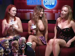 stripped babes are being interviewed in a show