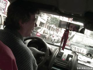 beautiful ladyboy sucking a dick in a taxi