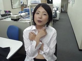 bored asian girl sucks a dildo at work