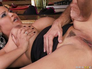 brunette milf takes a big cock in her anus