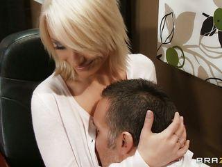 gorgeous blonde seduces her boss