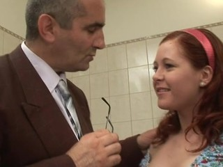 This tasty damsel allow aged dude touching her erect nipples