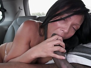 Milf with large boobs gets on the bang bus to make some love