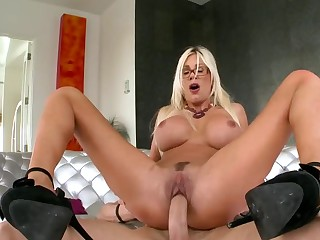 Blonde slut Puma Swede riding a big dick