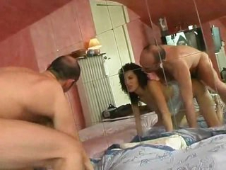 Cutie with curly hair gangbanged in her ass
