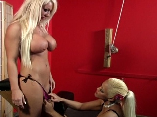 Blonde playgirl loves snatch pump act while bondage