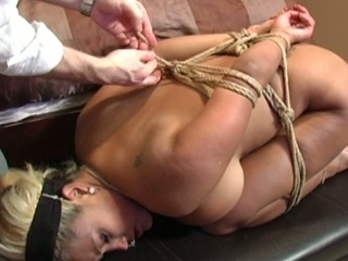 Hawt blonde gets bounded and abused on her ass and pussy