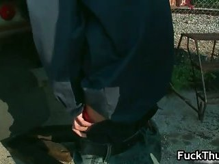 Thug gets fucked up the anal opening outdoors
