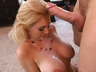 Blazing Charlee Follow gets splattered with dick cream