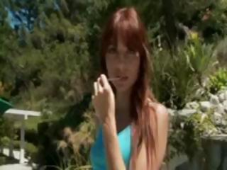 Skinny, young redhead, Zoe Voss, gets picked up and taken to hotel and screwed hard