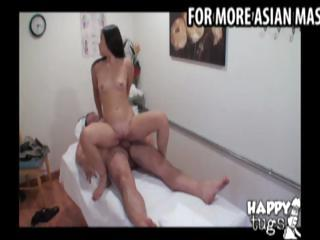 Asian masseuse gives a massage to a obese man then rides his cock
