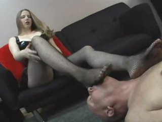 Dominant girl wishes him to take up with the tongue her feet
