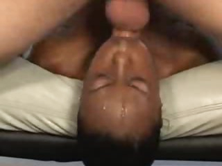 Filthy face fuck and gagging with dark girl